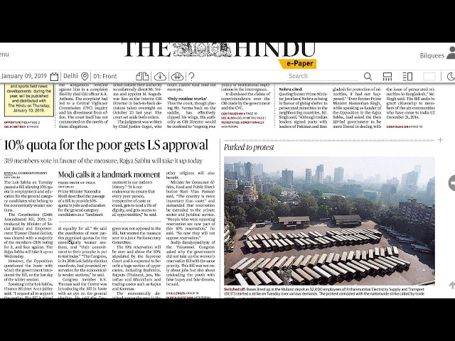 9 January 2019 - IMPORTANT HEADLINES The Hindu Current Affairs  - Mrs. Bilquees Khatri