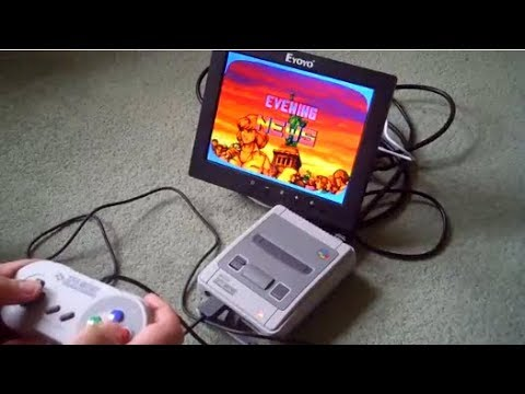 Totally portable 4:3 TV Mini Classic SNES setup running from USB powerbank, including screen!