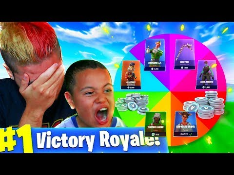 1 Kill = 1 FREE SPIN For $$$ V BUCKS And CHALLENGES For My Little Brother! FORTNITE SPIN THE WHEEL