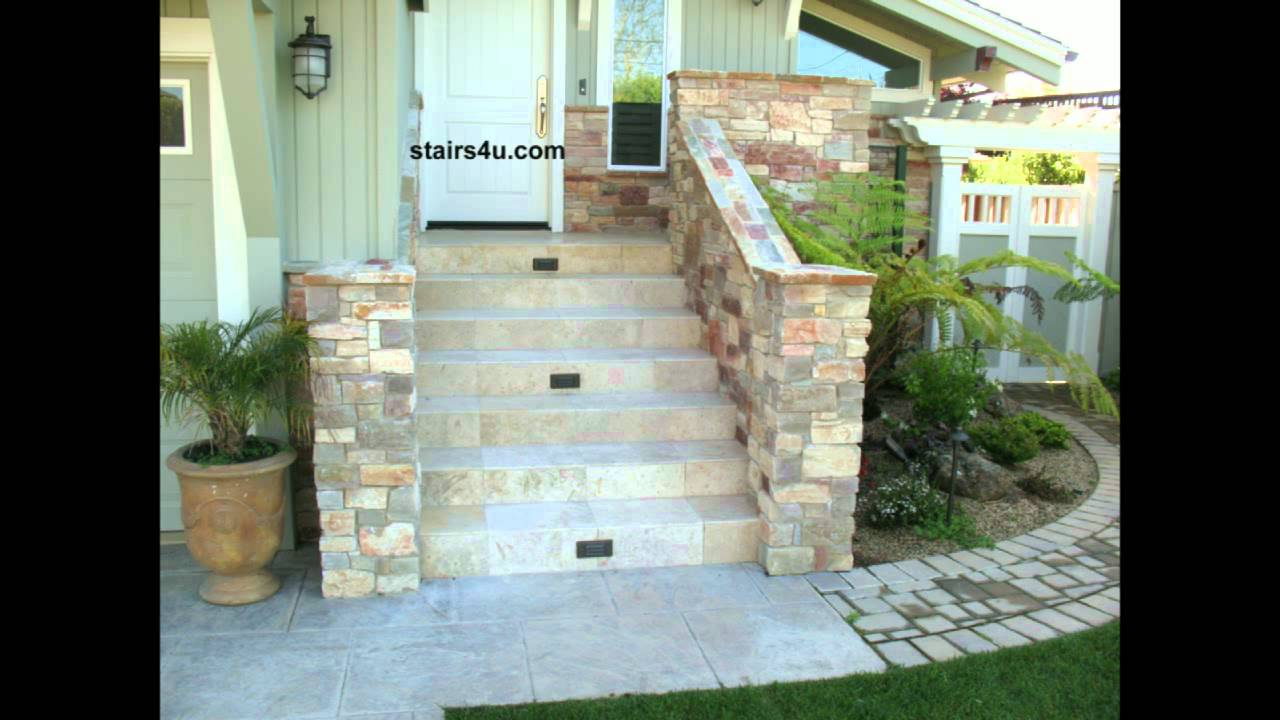 Front Porch Stairway With Natural Rock And Tile Youtube