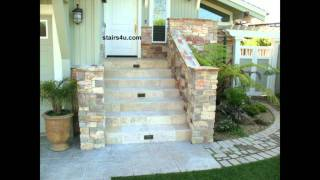 Front Porch Stairway With Natural Rock And Tile
