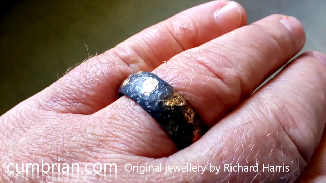 Wedding Ring, Rustic Black and 22k Gold handmade band. - YouTube