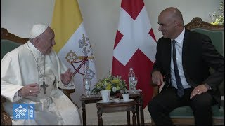 Pope Francis lands in Geneva, meets with president of Swiss Confederation