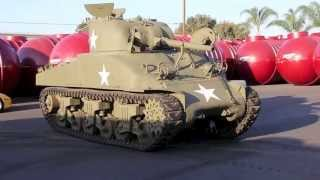 World War 2 American M4 Sherman Composite Hull Tank being Arrived at New Home 42613