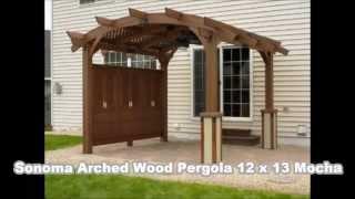 Sonoma Arched Wood Pergola Mocha Bonus
