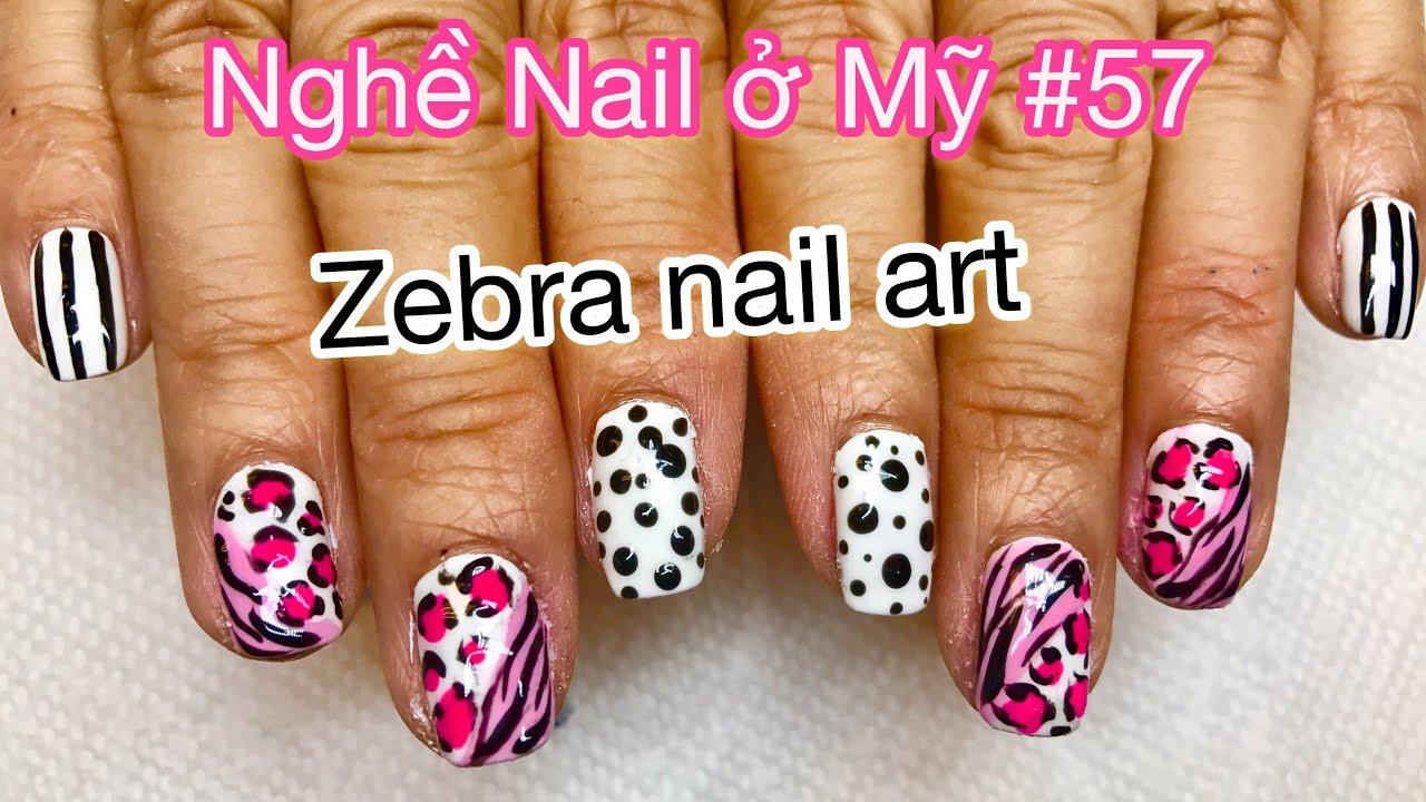 Nghề Nail ở mỹ #57   Zebra Nail art   Vẽ móng dễ kiếm tiền