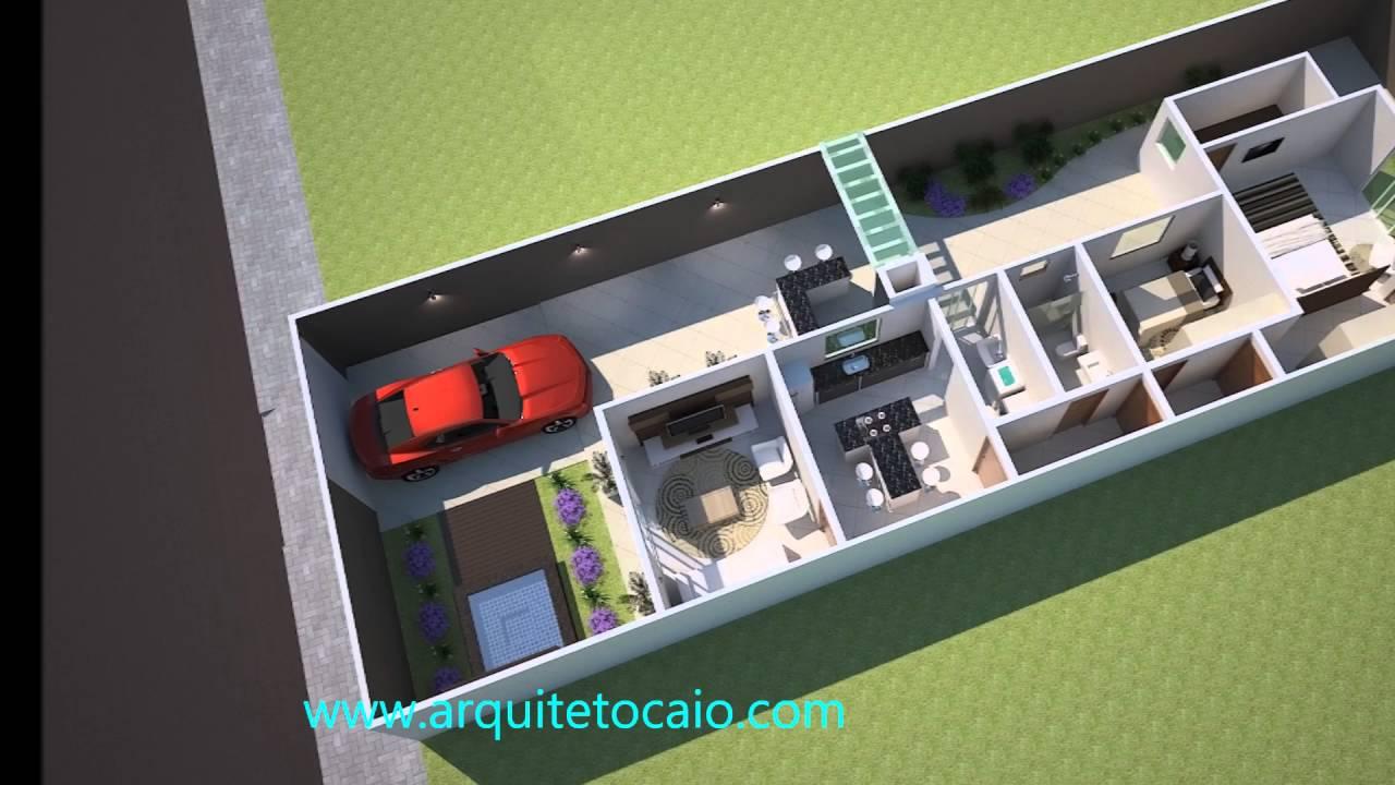 projeto casa terrea pequena terreno 8x20 moderna arquiteto