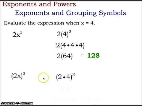 Algebra 1 Exponents And Grouping Symbols Youtube