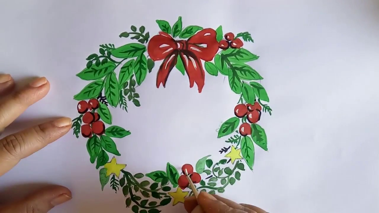 Christmas Card Making With Wreath Painting : Holiday ...