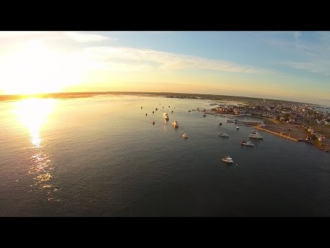 Sunset Over Seabrook Dunes and Hampton Beach, NH Aerial - w/ Q500 Drone Music: Journey, Lights