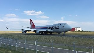 Cargolux Boeing 747-400F take off from Luxembourg to Los Angeles (LAX)