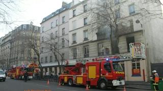 Pompiers de Paris Incendie  Paris 10 Fire in Paris ( Paris Fire Dept on scene