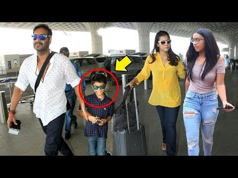 Ajay Devgn With Kajol & Children Son Yug & Daughter Nysa Spotted At Mumbai Airport