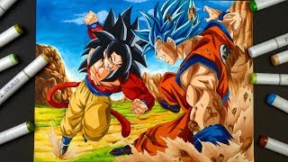 Drawing GOKU SSJ 4 VS GOKU SSJ BLUE | EPIC FIGHT