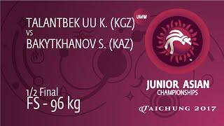 1/2 FS - 96 Kg: K. TALANTBEK UU (KGZ) Df. S. BAKYTKHANOV (KAZ), 4-4