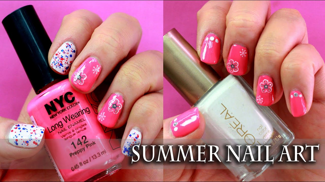 Easy Summer Nail Art Desgn for short nails with stickers - YouTube