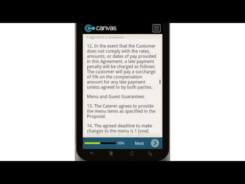 Canvas Catering Agreement Mobile App
