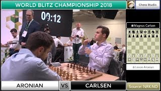 SACRIFICE AND SACRIFICE!!! CARLSEN VS ARONIAN   WORLD BLITZ CHAMPIONSHIP 2018