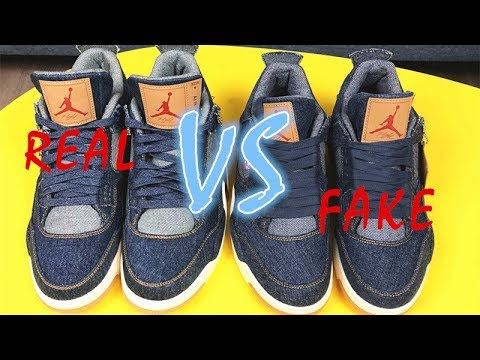 99a1e097815 Comparison for education:Levi's Air Jordan 4 Real Vs Fake