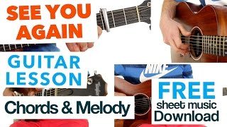 ► See You Again - Wiz Khalifa ★ EASY CHORDS & MELODY ★ GUITAR LESSON ✎ FREE TAB
