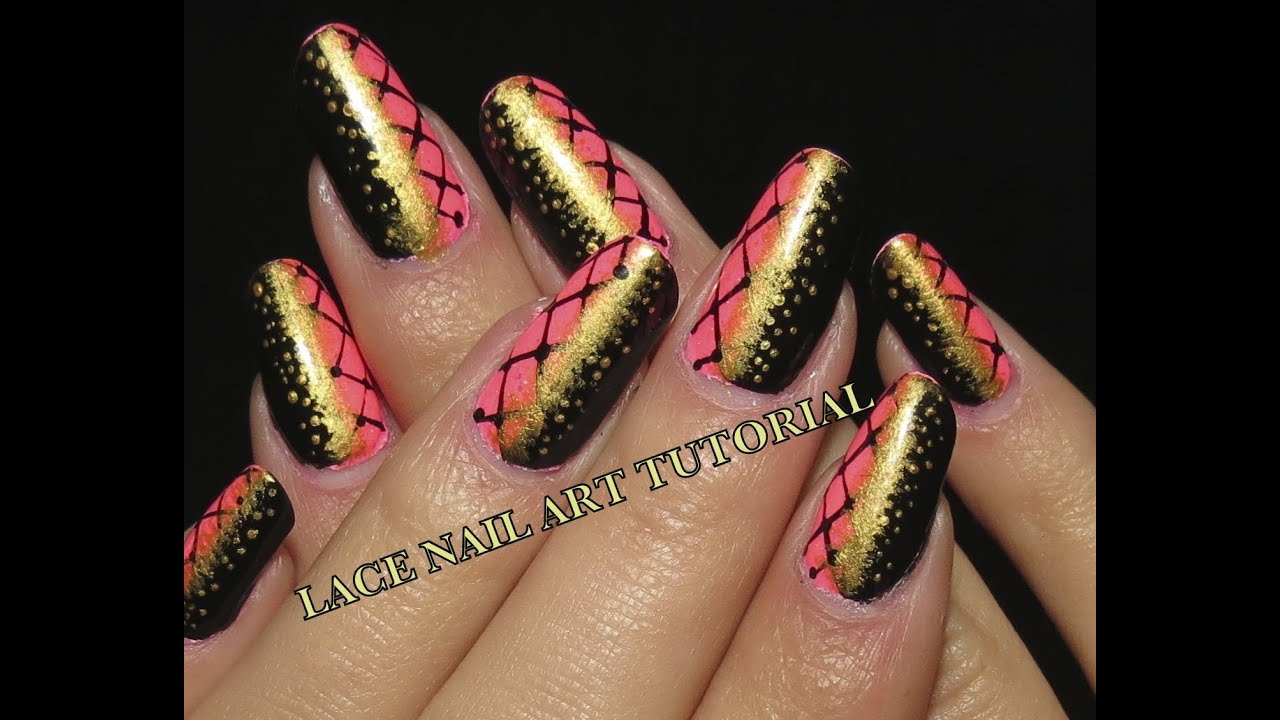 Pink Black Gold Lace Video Nail Art Tutorial