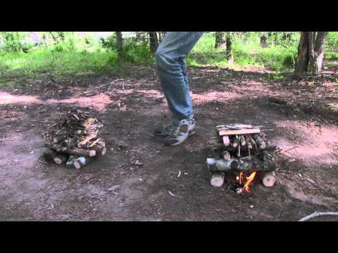 Build A Long Lasting Campfire: Log Cabin vs. Self Feeding