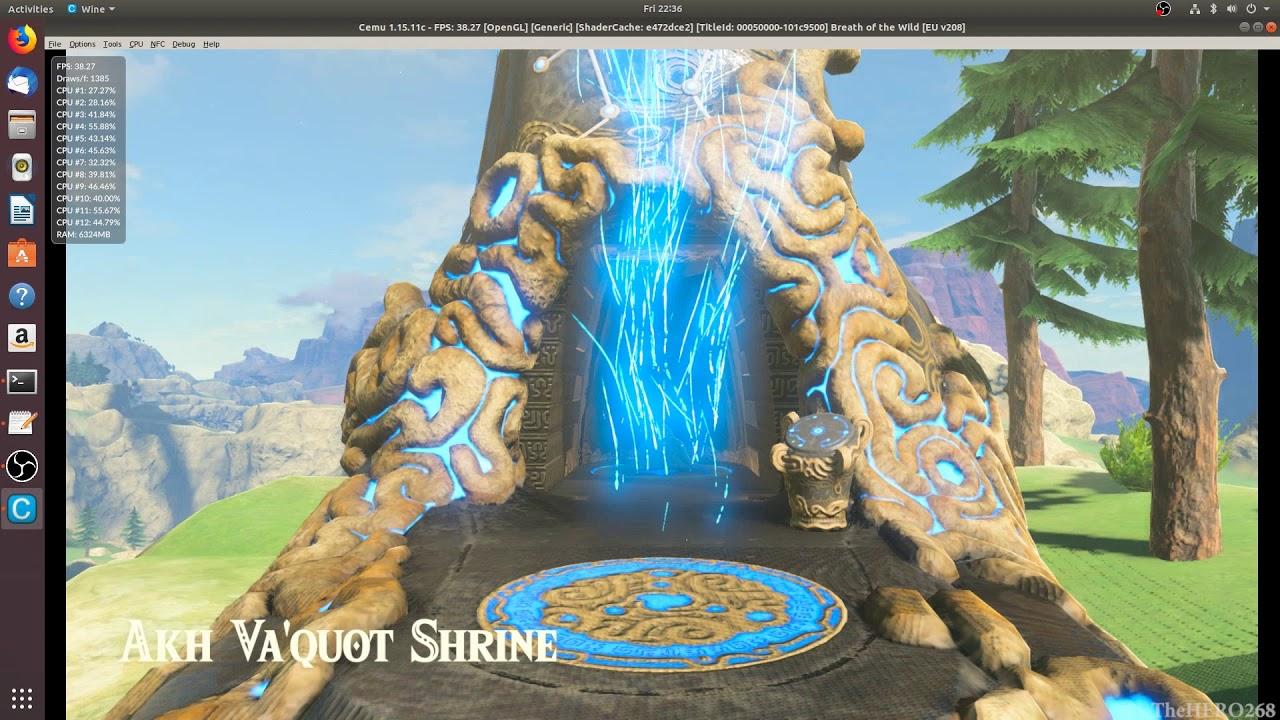 CEMU 1 15 11 (LINUX) Zelda: Breath of the Wild On RYZEN 5 3600 RX 580