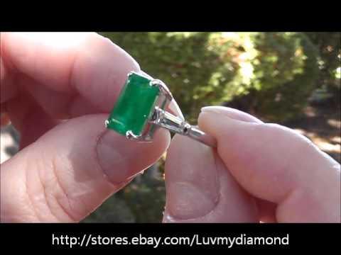 Platinum 3 5ct Colombian Emerald Baguette Diamond 3 stone Ring Estate Jewelry