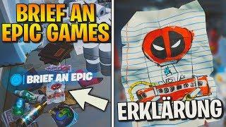 Fortnite: Finde Deadpools Brief an Epic Games! ✉ Erklärung: Season 2 Aufgabe | Detu