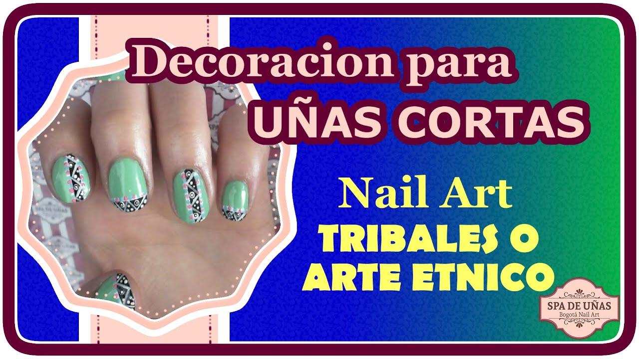 Decoracion para uñas cortas: Nail art Tribal - YouTube