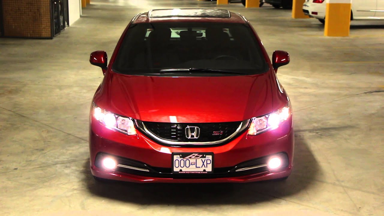 2013 civic si projector headlight hazard lights youtube. Black Bedroom Furniture Sets. Home Design Ideas
