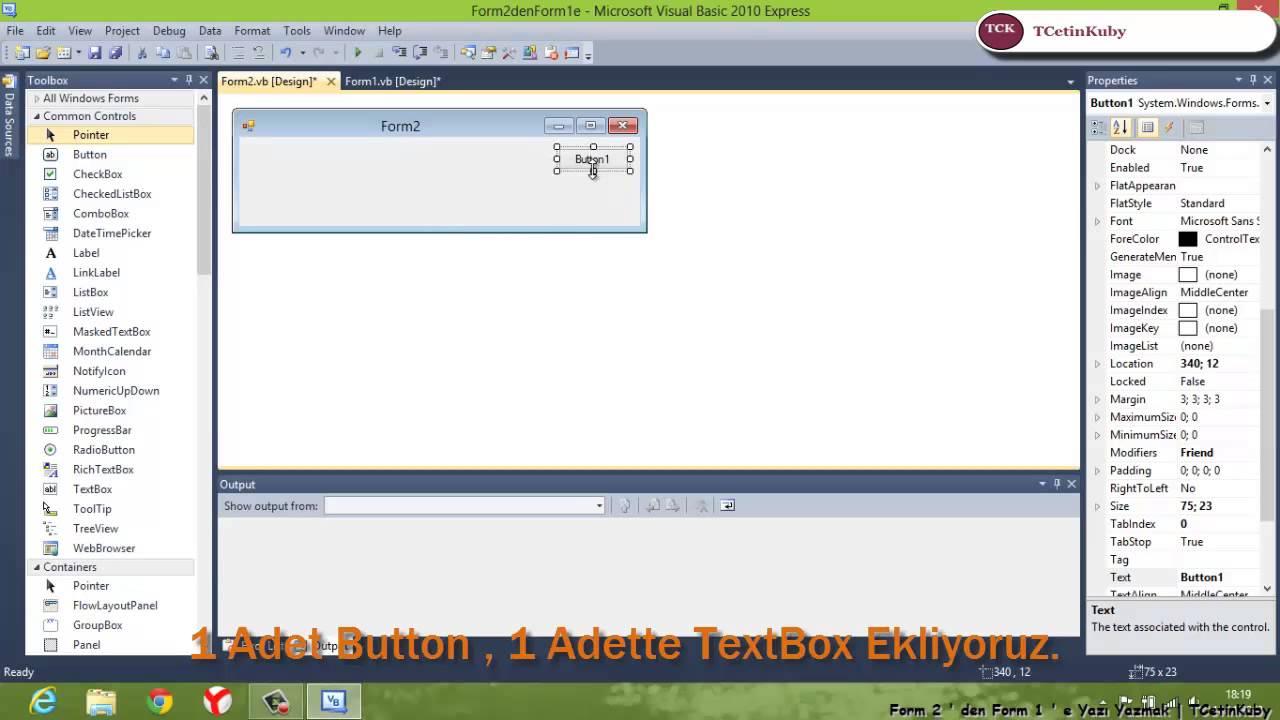 Visual Studio | Form 2 ' den Form 1 ' e Yazı Yazdırma | TCetinKuby ...