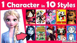 Draw 1 Character in 10 Art Styles   Mei Yu   Draw Elsa in Anime Cartoon  Game Styles Swap Challenge