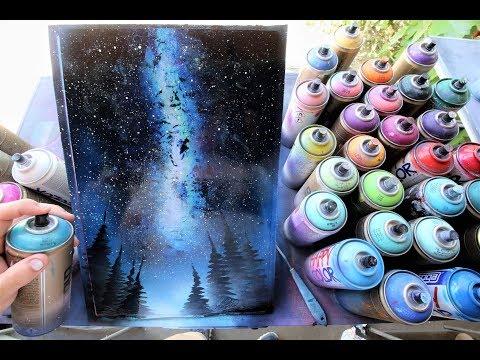 Stars in the night sky GLOW IN DARK - SPRAY PAINT ART by Skech