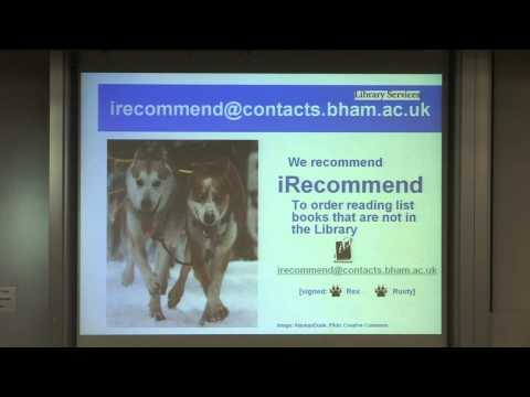 University of Birmingham, Postgraduate Taught Induction, Library Services, Sarah Pittaway