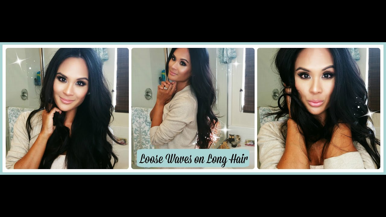 Loose Waves on Long Hair with Tapered Curling Wand ...