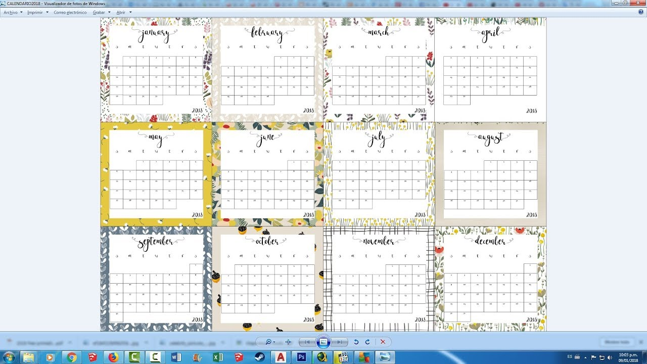 Descarga Gratis Calendario Planificador 2018 4k Uhd