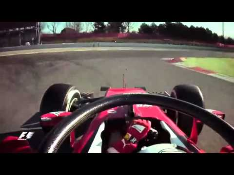 Onboard - Vettel with Halo head protection in Barcelona 2016