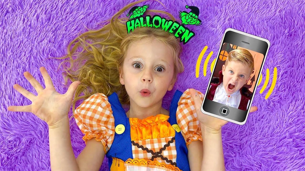 Download Nastya und Papa gehen wie im Halloween-Stil zum Geburtstagder Roma