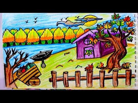 رسم منظر طبيعي لفصل الخريف رسم سهل للمبتدئيين خطوة بخطوة بالالوان