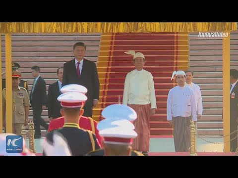 President Xi Jinping attends grand welcome ceremony in Myanmar