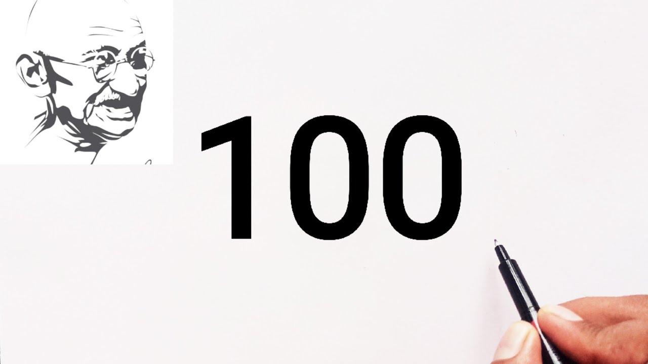 How turn words 100 into mahatma gandhi drawing step by step - belajar menggamber style drawing
