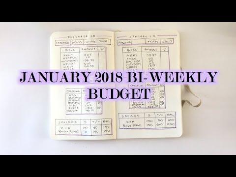 January 2018 Bi Weekly Budget Bullet Journal Youtube