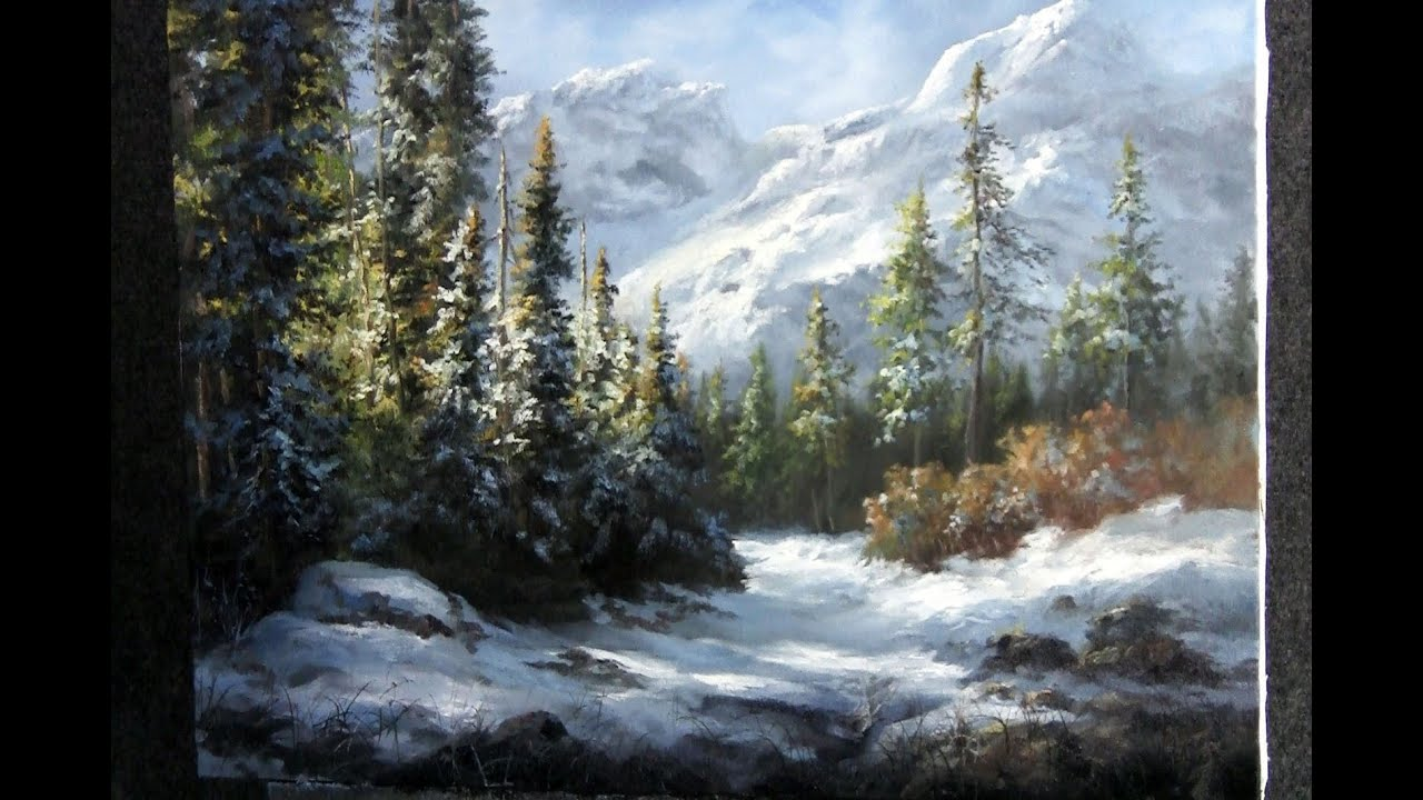 snowy mountain landscape painting. snowy mountain landscape painting u