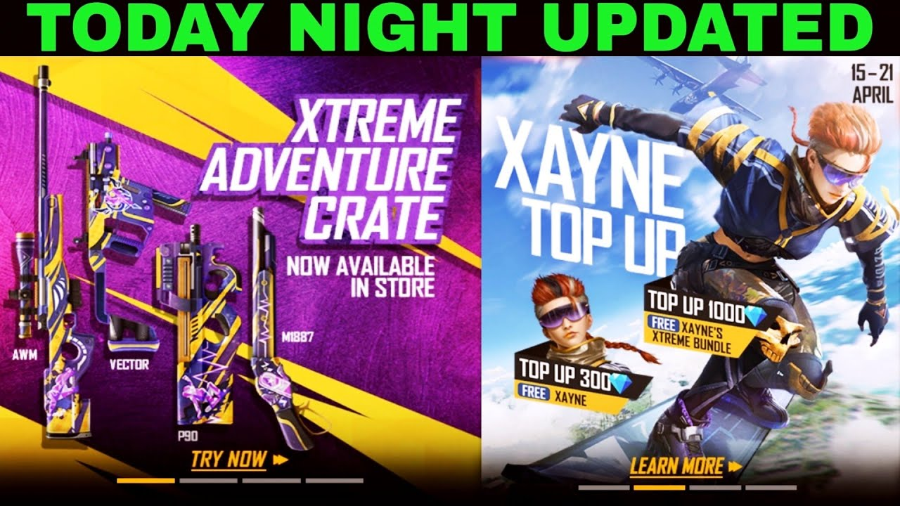 Today night updated new topup events new character in free fire store gaming