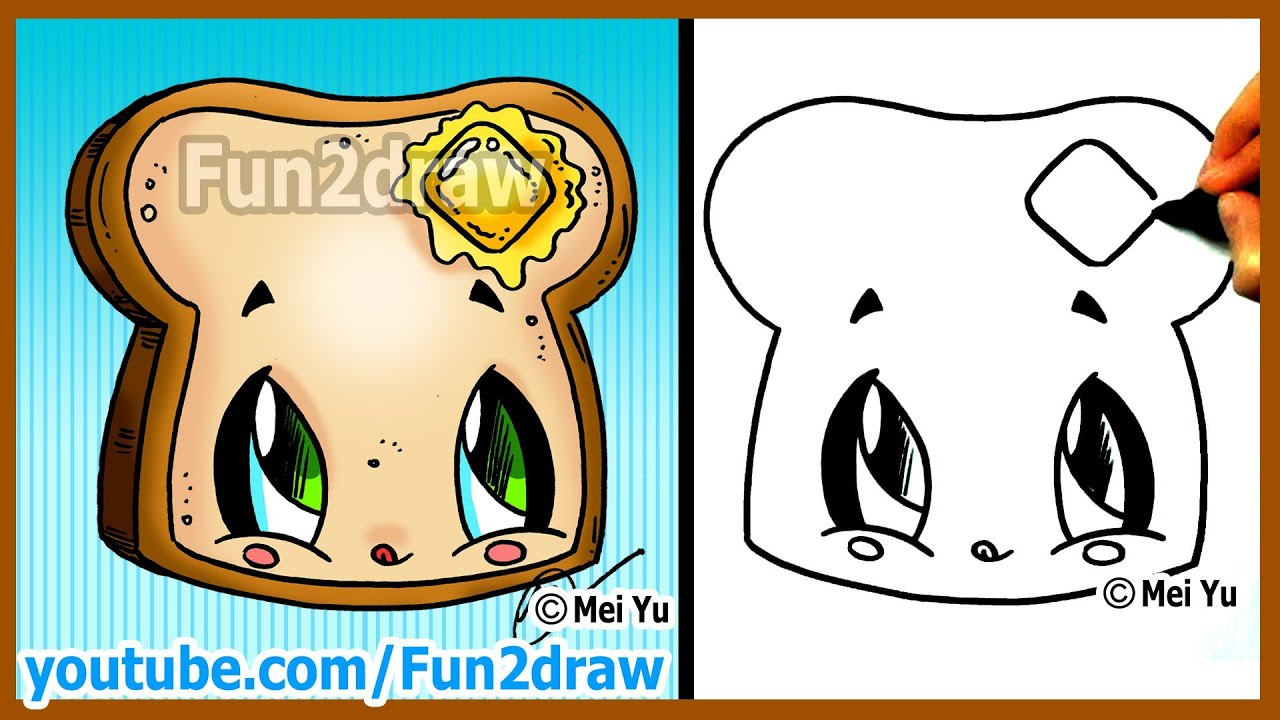 How To Draw Cartoons  Kawaii Toast + Butter  Fun2draw Drawing Channel   Youtube