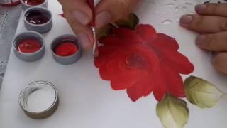 Pintura em Tecido – Aprenda pintar Rosa Vermelha – Botões, Folhas e Acabamento.