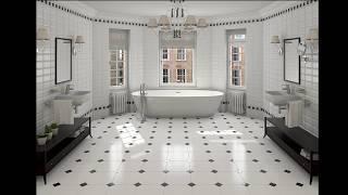 Черно-белая плитка для ванной классика