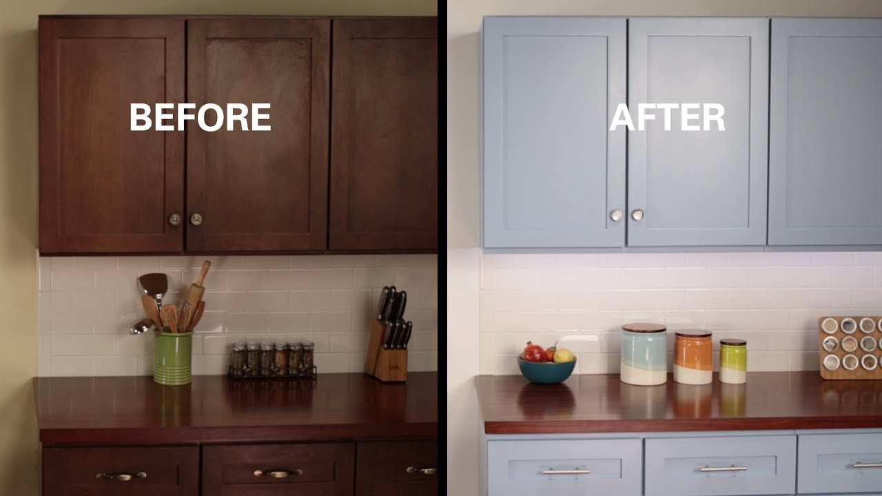 KILZ How To Refinish Kitchen Cabinets YouTube - Refurbish kitchen cabinets
