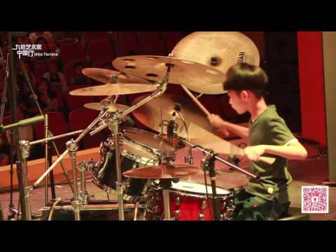 Chinese little drummer, 8 year old NineBeats music school students from China